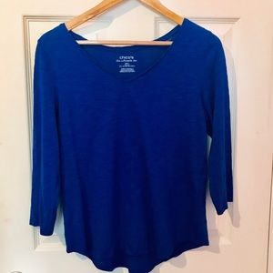 Chico's royal blue V neck shirt